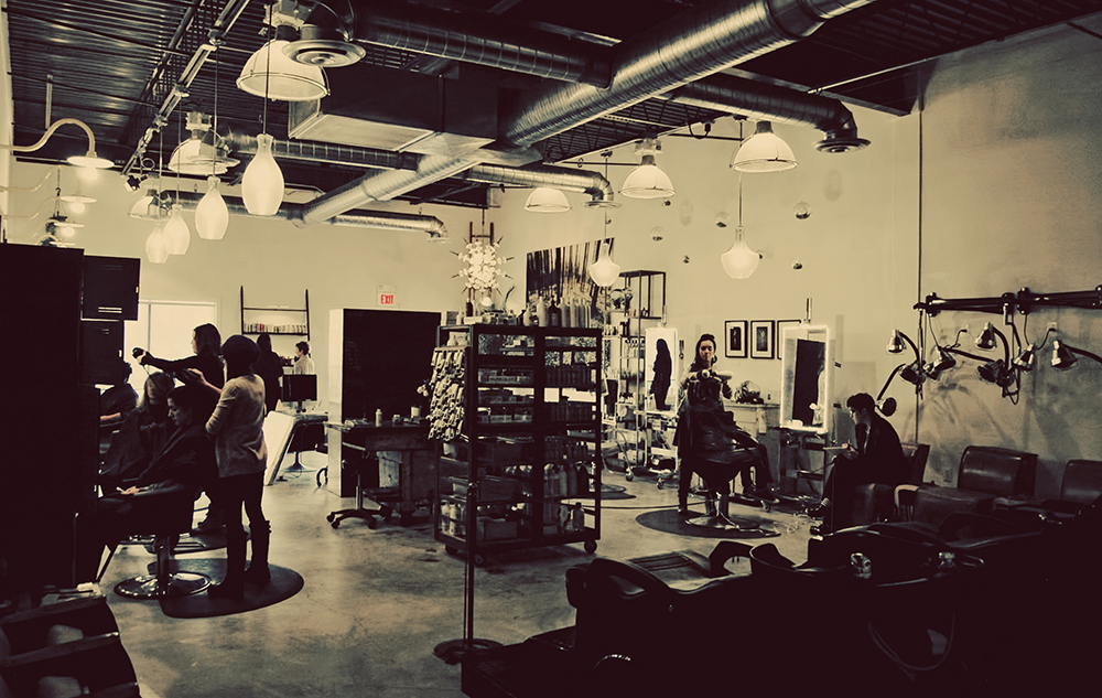hip Industrial vibe salon frederick
