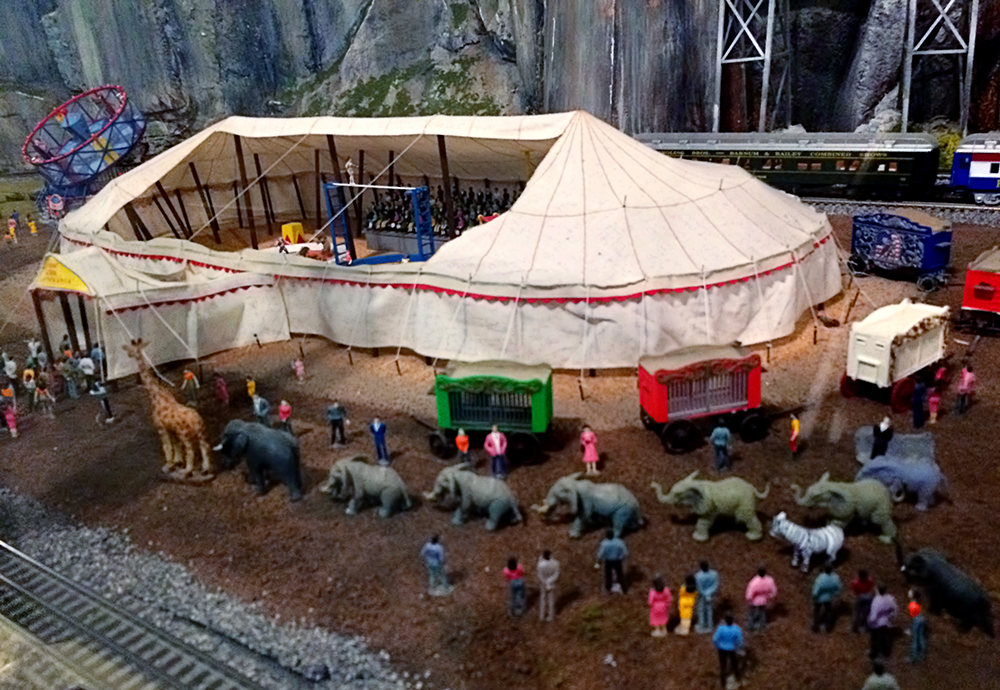 toy train layout circus tent